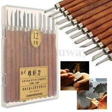 12PCS Professional Wood Carving Hand Chisel Tool Set Woodworking Gouges + Box
