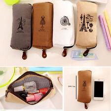 Vintage Student's Canvas Pen Zipper Bag Pencil Case Travel Makeup Cosmetic Bags