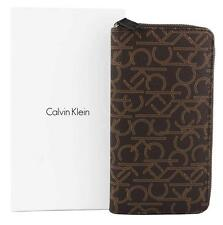 NEW CALVIN KLEIN CK MEN'S LEATHER ZIP AROUND LARGE COIN YEN WALLET BROWN 79468