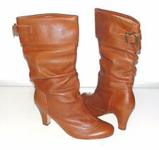 STEVE MADDEN~NWOB~CHESTNUT~GENUINE LEATHER *SLOUCHY* BOHEMIAN BUCKLE BOOTS~10