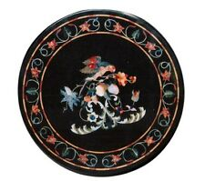 """24"""" Black Marble Round Coffee Table Top Marquetry Black Friday Home Decor Gifts"""
