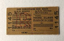 Old 1960s Irish GNR Board Railway Train Ticket Dublin Return Edmondson