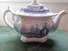 Thomas Mayer ABBEY RUINS BLUE TEAPOT Transferware ABOUT 1840 STAFFORDSHIRE