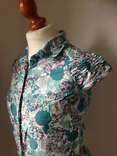 Fat Face Turquoise/Multi Floral Cotton Cap Sleeved Blouse, Collar, Tucks Size 8