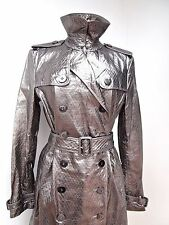 NEW--- SILVER LAMBSKIN LEATHER BURBERRY LONDON TRENCH COAT --MUST SEE---UK 14