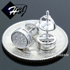 MEN 925 STERLING SILVER 6MM LAB DIAMOND ICED ROUND SCREW BACK STUD EARRING*E108