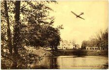 Cartolina Aviazione - Aereo In Volo Sul Lago Del Castello Di Angervilliers
