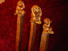 THREE MONKEY SEE NO HEAR NO SPEAK NO EVIL RUSTIC RIVED STICKS JIM HALL