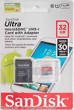 SanDisk Ultra microSDHC Card UHS-I Class 10 (30MB/s) 32GB + SD Card Adapter Bill