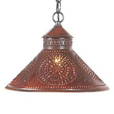Stockbridge Shade Light in Rustic Tin w/ Chisel | Country Ceiling Lighting