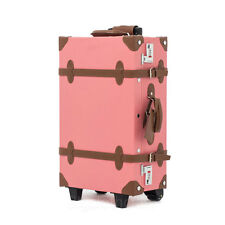 "EDDAS ETHOS Vintage Luggage Pink Brown Trolley 22"" Carry on Bag Suitcase"
