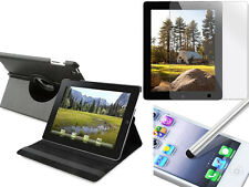 Black iPad 2 3 4 Case 360 degree Rotating+FREE Clear Screen Protector/Stylus Pen