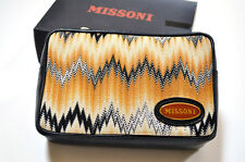Missoni Women's Italy Leather Zig Zag Cosmetic Makeup Bag Travel Bag NWT