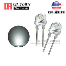 50pcs 8MM Water Clear White Light Straw Hat 0.5W LED Diodes Wide Angle USA
