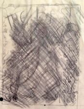 """Julian Ritter-The Beat For 1983-Charcoal Trancing on Vellum10""""x 14""""Un-Signed-445"""