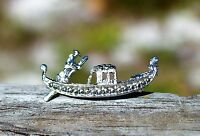 800 marked white gold tone marcasites stones Gondola boat deatailed BROOCH