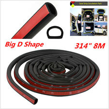 Black 8M Big D Rubber Weatherstrip Car Door Window Edge EPDM Seal Hollow Strip