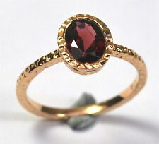 Women Jewelry 925 Sterling Silver Garnet Rose Gold plated Ring Size 8 CCI