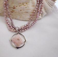 "QVC HonoraTriple Strand Freshwater Pearl Necklace & PINK  MOP Pendant-17"" PLUM"