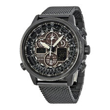 Citizen Navihawk A-T Eco-Drive Black Dial Black Stainless Steel Chrono Mens