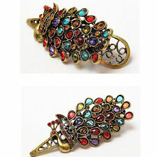 NEW Vintage Women Fashion Crystal Rhinestone Peacock Hair Barrette Clip Hairpin