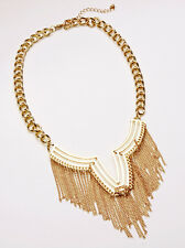BOLD SEXY GOLD TONE STATEMENT CHOKER NECKLACE ETHNIC FUNKY TASSELS (CL18)