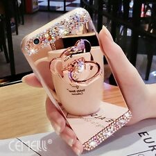 Bling Mirror Diamond Soft Case Cover For iPhone 7 Cute Bear Ring Holder Stand