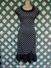 BLACK WHITE POLKA DOT PINUP MERMAID DRESS M-L NEW CHURCH WEDDING ROCKABILLY