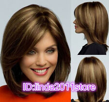 Fashion Bob style Synthetic hair wigs Short Straight Brown Mix women Full Wig