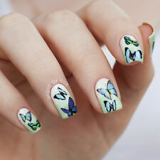 1 Sheet Nail Art Water Decals Transfers Stickers Blue Wings Butterfly Design