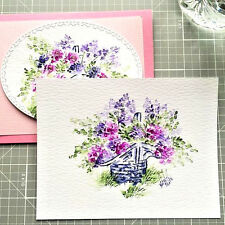Basket &  flowers 4 pc Watercolor Set L@@K@example ART IMPRESSIONS RUBBER STAMPS