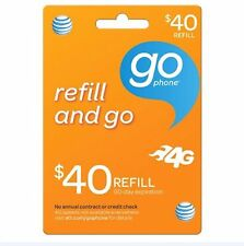 AT&T Go phone $40 Refill. FASTEST REFILL card Credit applied DIRECTLY to PHONE