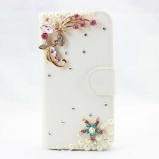 1x 3d bling bow flower fashion leather wallet flip diamond case cover for HTC