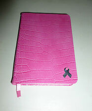 PINK RIBBON FAUX CROC LEATHER RULED JOURNAL WITH MATCHING DECORATIVE PAGES