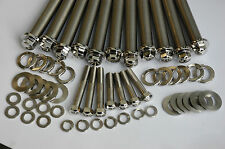 SUZUKI GT750 CYLINDER HEAD BOLTS STAINLESS STEEL MIRROR POLISHED COMPLETE SET.