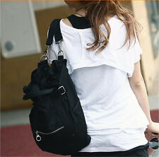 Fashion Black Multi-role Travel bag Women's Tote Handbag Backpack Shoulder Bags