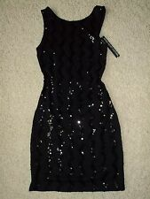 DESIGNER DEREK HEART COUTURE NEW YORK BLACK MINI STRETCHY ZIGZAG SEQUIN DRESS S