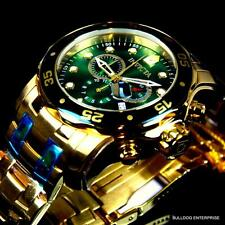 Invicta Pro Diver Scuba 18kt Gold Plated Steel Chronograph Green Watch New