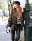 ZARA KHAKI COMBINATION PARKA JACKET COAT LEATHER SLEEVES BLOGGERS SIZE MEDIUM M