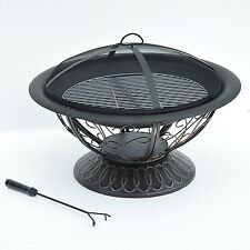 """30"""" Patio Outdoor Round Fire Pit Fireplace Charcoal Grill BBQ Stove Table New"""