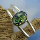 Mexican 925 Sterling Silver & Green Dichroic Glass Graduated Cuff Bracelet