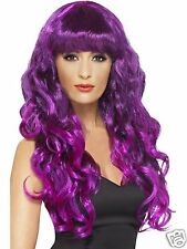 Smiffys Adult Purple & Black Siren Witch Wig Halloween Fancy Dress Costume Wig