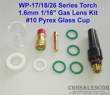 10 pcs TIG Welding Stubby Gas Lens #10 Pyrex Cup Kit  for Tig WP-17/18/26 1/16""