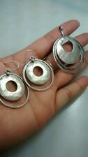 Silpada sterling 925 round hoops dangle wire earrings and pendant set