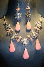 Peruvian Alpaca Silver,Gemstone Necklace & Earring Set ~Pk Jasper~NS65~uk seller