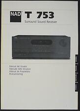 NAD T 753 Original Surround Sound Receiver Bedienungsanleitung