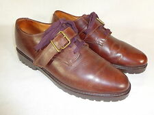 """VTG RALPH LAUREN COUNTRY Brown Leather Oxford """"RARE"""" Buckle Strap Lug Sole 12 D"""