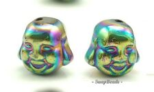 8MM TITANIUM RAINBOW HEMATITE GEMSTONE BUDDHA HEAD FACE 8MM LOOSE BEADS 7.5""