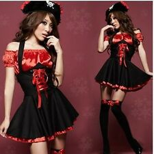 Adult Lady Womens Pirate Cosplay Costume Dress+Hat+G-String Clubwear Lingerie