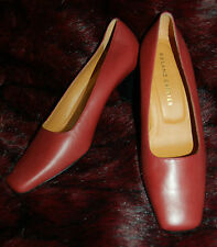 New Sz5.5 Designer Roland Cartier Brunt Red Square Toe Leather Shoes Spare heels